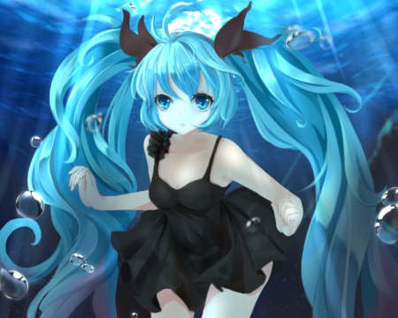 Deep Sea - pretty, sweet, s sundress, nice, anime, bubbles, beauty, anime girl, vocaloids, long hair, underwater, lovely, twintail, black, miku, sexy, water, hatsune, hatsune miku, beautiful, twin tail, dres, lack, ot, hot, blue, vocaloid, female, twintails, twin tails, girl, deep sea, dark, miku hatsune, aqua hair