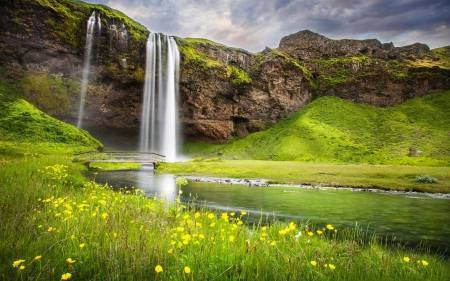 River Waterfall - flowers, nature, waterfalls, rivers