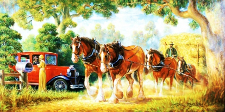 Harvest Time - countryside, oldtimer, car, painting, cart, artwork, horses