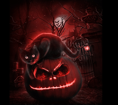Red Halloween - red, lantern, halloween, black, trees, cat, abstract, moon, flames, pumpkin, night