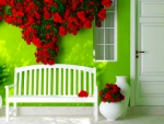 Green Wall and Bench