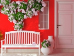 Red Wall and Bench
