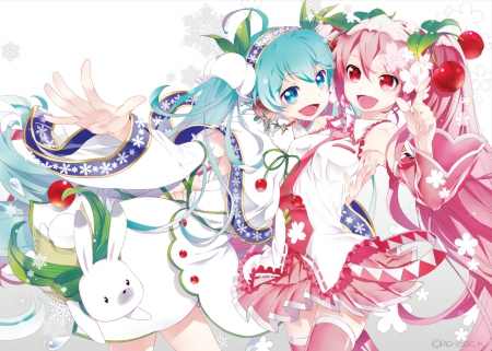 Snow Cherry - pretty, adorable, sweet, nice, anime, beauty, anime girl, twins, vocaloids, long hair, lovely, twintail, gown, miku, smiling, eautiful, happy, cute, dress, hatsune miku, beautiful, twin tail, sakura miku, vocaloid, female, smile, twintails, yuki miku, twin tails, kawaii, girl, blue hair, miku hatsune, pink hair