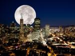Full Moon Over City