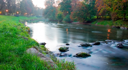 beatiful autumn river - free, autumn, weekend, photography, stones, exposure, water, river, evening