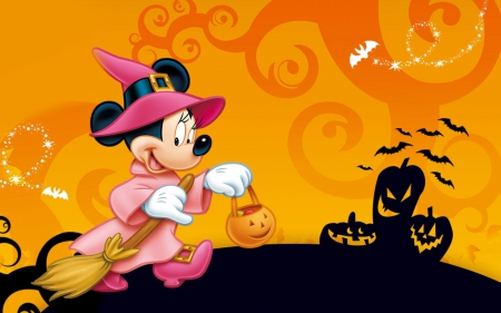 Witch Orange Halloween Black Shadow Mickey Mouse
