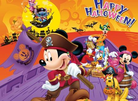 Orange Halloween Donald Duck Mickey Mouse Pirate