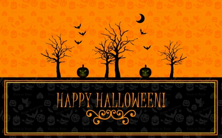 Happy Halloween - bats, jack o lanterns, witches, trees, moon, Halloween, cats, Happy Halloween, pumpkins