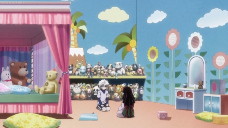 Play Room - pretty, family, sisters, bedroom, adorable, play, bed, sweet, brothers, nice, anime, killua, anime girl, long hiar, toys, black hair, playing, hunter x hunter, enjoy, female, male, lovely, alluka, short hair, cute, sibling, boy, kawaii, girl, silver hair