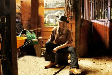 Working Cowgirl - cowgirl, boots, pails, blonde, barn, blankets, hat, buckets, wheelbarrow