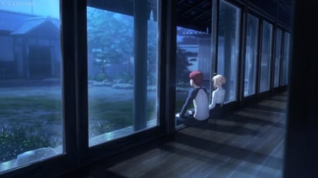 Two of Us - saber, pretty, shade, beautiful, sweet, shirou, bly, nice, shirou emiya, anime, beauty, anime girl, emiya shirou, evening, couple, night, female, male, lovely, romantic, romance, hallway, shadow, anime couple, emiya, sit, girl, sitting, scene