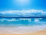 Small Ocean Waves on Beach
