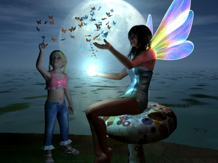 Fun with Magic - Fairy, Light, Moon, Joy, Blue, Wings, Magic, Butterfly