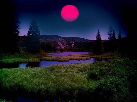 Pink Moon - pink moon, landscape, night, mountains, trees, river