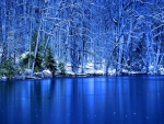 Beautiful Blue Lake in Winter