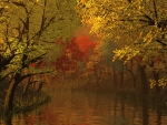 Autumn River and Trees