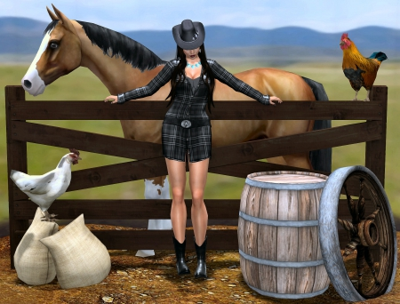 Cowgirl Art - rooster, art, female, westerns, fun, barrels, outdoors, horses, fences, cowgirls, painting