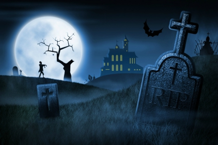 Spooky Cemetery 3d And Cg Amp Abstract Background