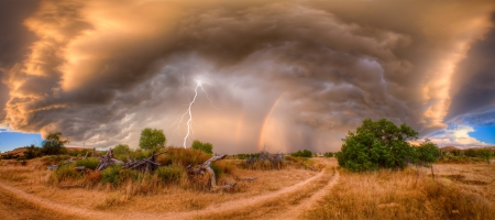 Rainbow - Clouds, Storm, Landscape, Rainbow