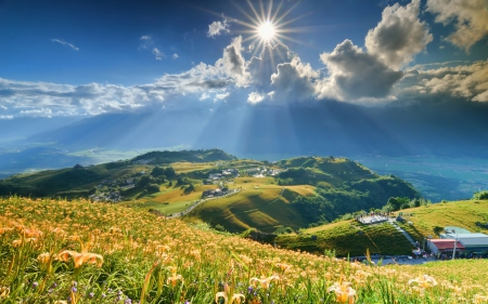 Sun Shining on the Valley - hills, mountains, landscapes, nature, sunshine, valleys