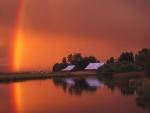 Rainbow Sunset over Farm