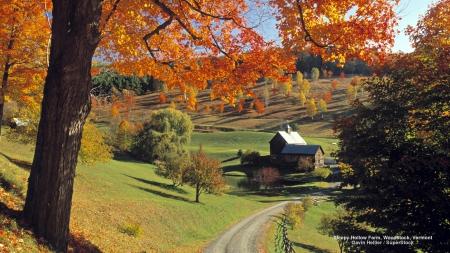Vermont Autumn Landscape Fields Nature Background Wallpapers