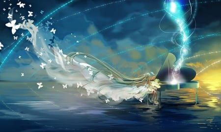Play - pretty, cg, magic, sweet, nice, fantasy, butterfly, anime, beauty, anime girl, vocaloids, realistic, long hair, lovely, gown, miku, piano, water, hatsune, awesome, green hair, hd, dress, divine, hatsune miku, splendid, beautiful, elegant, light, gorgeous, vocaloid, female, girl, magical, miku hatsune, angelic