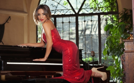 Beauty in Red - red dress, girl, pose, beautiful, piano