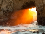 Ocean Cave and Sunset at Pfeiffer Beach in California