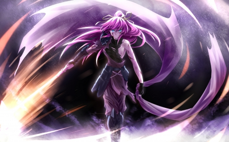 There will be Fire - magic, angry, blade, emotional, anime, gloomy, anime girl, long hair, sword, female, purple hair, gloom, thorn, fire, girl, blaze, dark, sinister, serious