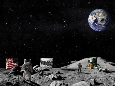 moonscape - moon, earth, astronaut, flag