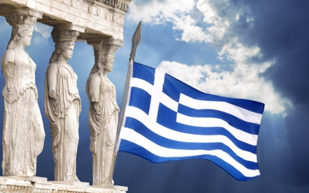 *Karyatides* - greek flag, greece, ancient, temple, karyatides, acropolis, athens