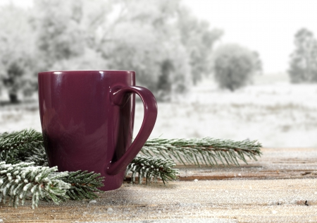 Winter - coffee, snow, coffee time, cup, nature, winter time, snowy, winter