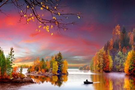 Colorful autumn - colorful, fall, amazing, lovely, beautiful, trees, sky, clouds, lake, foliage, boat, nature, island, reflection