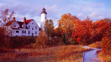 Sensational Autumn Lighthouse Lighthouses Architecture Background Download Free Architecture Designs Rallybritishbridgeorg