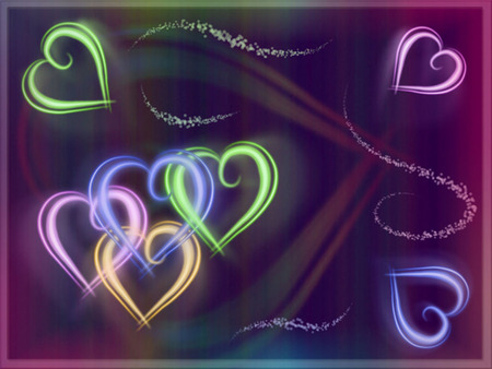 Colorful Neon Hearts - hearts, colors, neon, bright, pastels