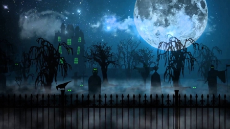 Halloween Night - fence, house, clouds, fog, grim reaper, reaper, graves, moon, full moon, graveyard, stars, owl, cemetery, tombstones, birds, scarecrow, trees, bird