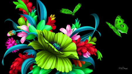 Floral Butterflies Bright Flowers Nature Background