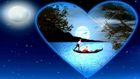Romantic Night Lakes Nature Background Wallpapers On Desktop