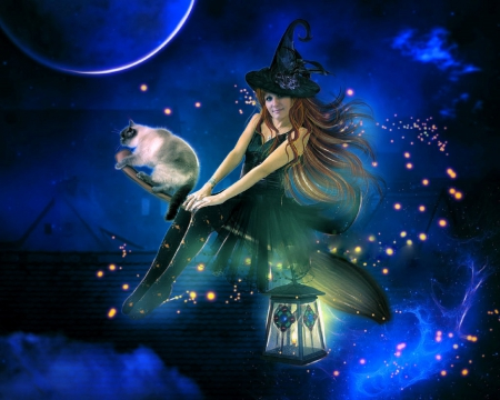 halloween flying witch fantasy abstract background wallpapers on desktop nexus image 1870481