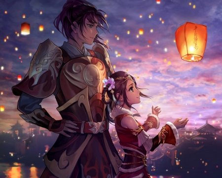 Night lantern other anime background wallpapers on - Dark anime couples ...