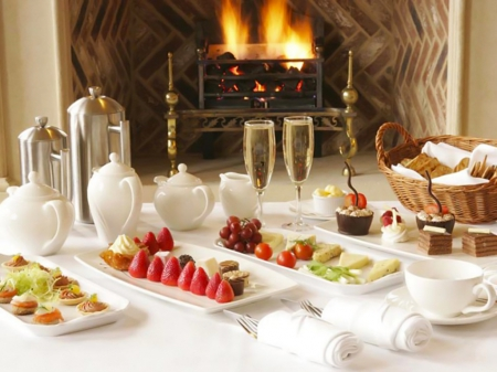 By the fireplace - meal, fireplace, coffee, food, glasses, caffe, winter