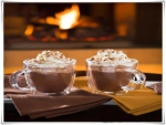 Hot chocolate next to the fireplace