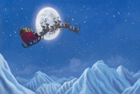 Christmas Eve - stars, santa, moon, christmas, moutains, reindeer