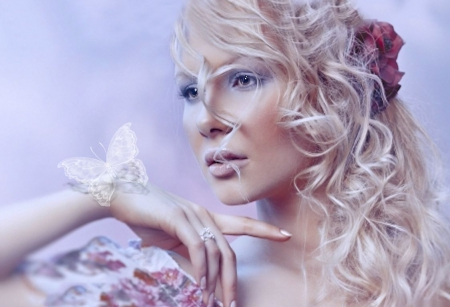 Delicate Interlude - red, blonde, beautiful, soft, delicate, butterfly, girl, interlude, flower, white, pink, blue