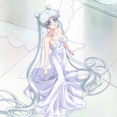 Queen Serenity - pretty, queen serenity, women, sweet, simpl, nice, anime, sailor moon, beauty, anime girl, look, lovely, twintail, gown, serenity, white, maiden, long ahir, dress, silk, beautiful, woman, silver, twin tail, sailormoon, gorgeous, female, twintails, plain, twin tails, princess serenity, up, girl, silver hair, looking, princess, lady