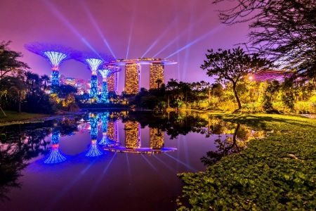 SINGAPORE CITY AT NIGHT - architecture, brright colors, place, beautiful, sky, clouds, lake, lights, tree, leaves, splendor, rays, nature, landscape, night