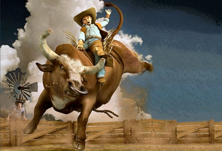 I'm A Cowboy! - bulls, male, corral, hats, boots, ranch, fun, cartoon, rodeo, animation, drawing, cowboys