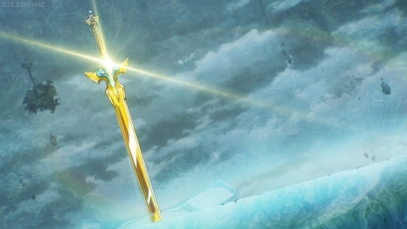 SAO: Holy Excalibur - objects, magic, fantasy, gold, blade, anime, scenery, sword, light, gloden, holy excalibur, cloud, excalibur, glowing, items, sword art online, sky, sao, shining, scene