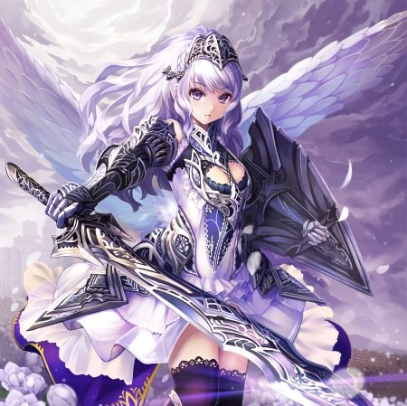 Arch Angel - pretty, hd, cg, archangel, shield, wing, sweet, beauitiful, nice, anime, feather, warior, beauty, anime girl, realistic, long hair, sword, female, wings, lovely, angel, purple hair, armor, girl, knight